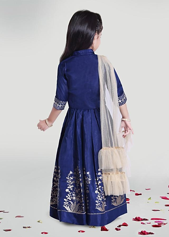 Blue Gathered Skirt And Crop Top Set In Silk Blend With Printed Motifs And Ruffle Dupatta By Mini Chic