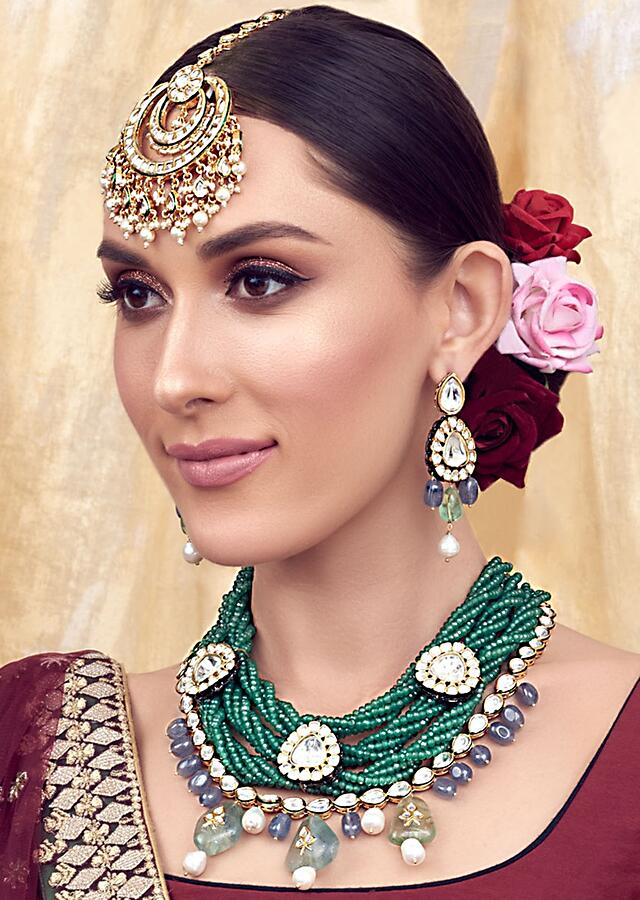 Blue Green Gold Tone Bridal Necklace Set Joules By Radhika