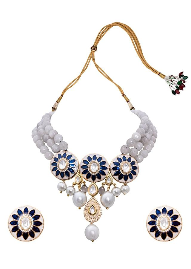 Blue Grey and White Pearl Necklace Set With Floral Meenakari, Agate Beads And Shell Pearls Joules By Radhika