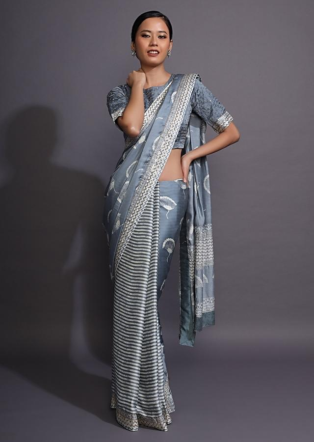 Blue Grey Saree In With Batik Printed Stripes On The Pleats And Floral Motifs On The Pallu Online - Kalki Fashion