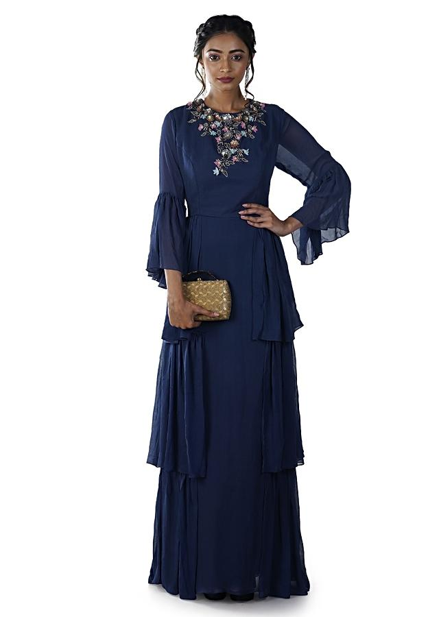 Blue Hand Embroidered Layered Gown With Bell Sleeves Online - Kalki Fashion
