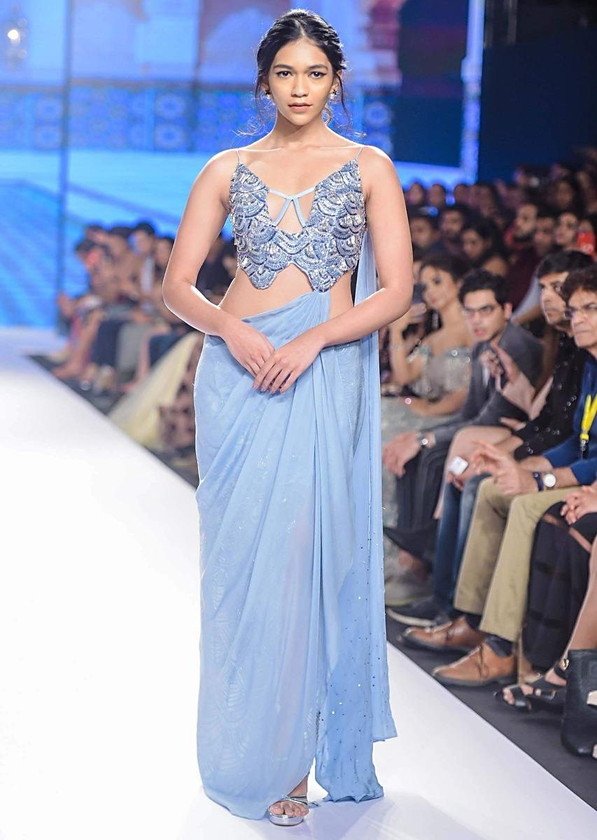 Nidhhi Agerwal In Kalki Blue Heather Fancy Saree Gown With Side Slit Drape And Attached Pallo