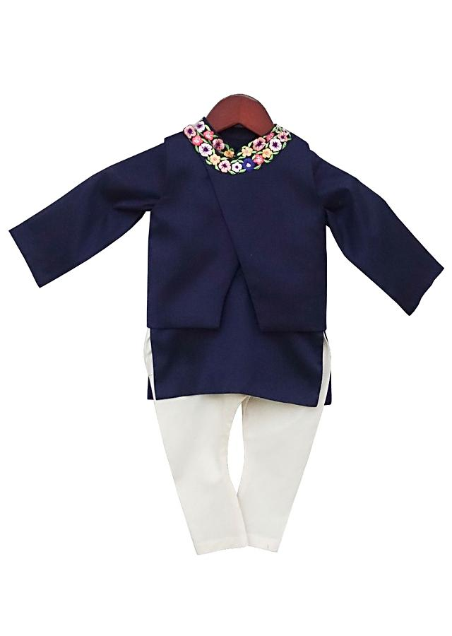 Blue jacket with floral embroidery along with blue kurta and churidar By Fayon Kids