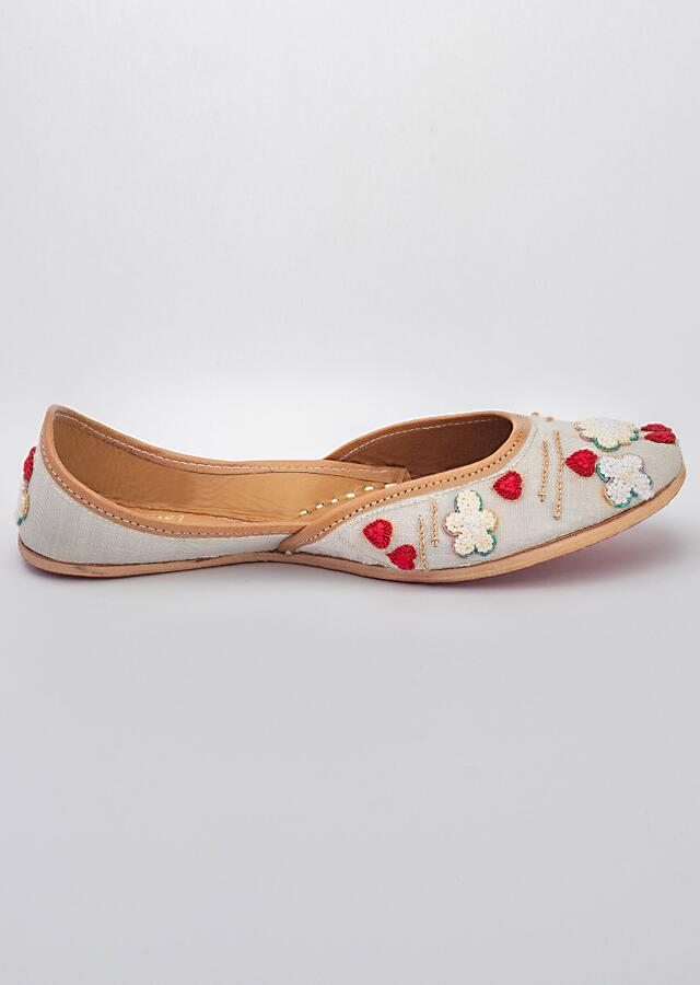 Blue Juttis In Linen With French Knot Clouds Having Zardozi Border And Red Hearts By Vareli Bafna