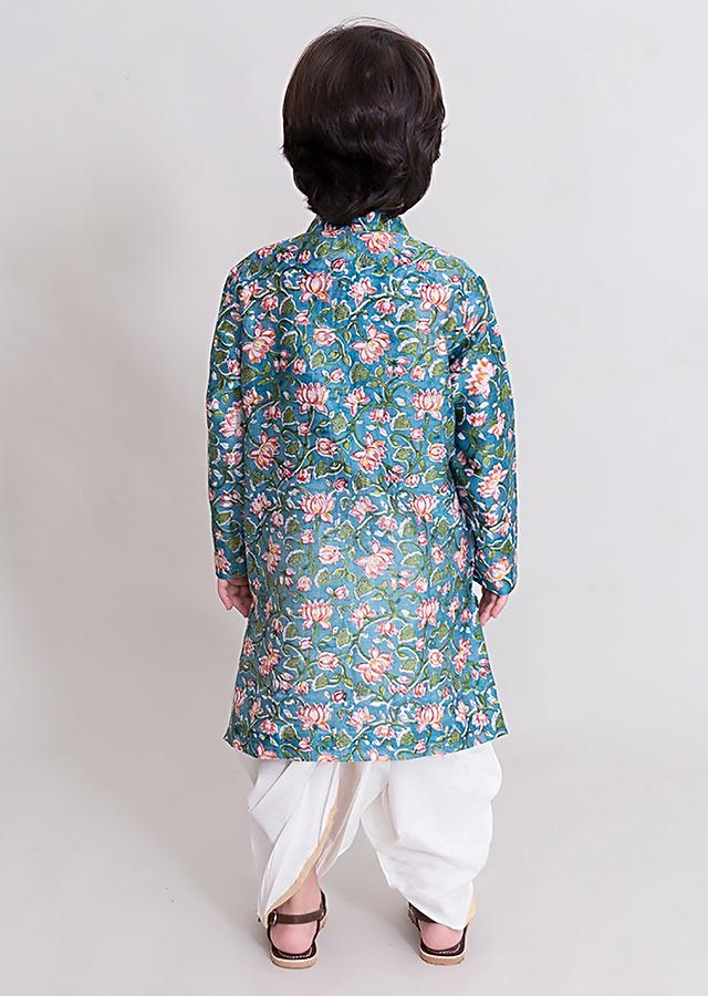 Blue Kurta And Dhoti Set With Hand Block Print In Intricate Floral Motifs By Tiber Taber