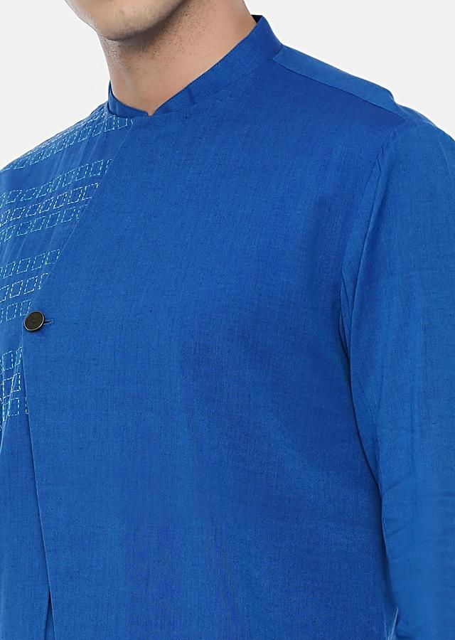 Blue Kurta Set In Malai Cotton With A Stylish Cut Overlapping Placket And Subtle Thread Work By Mayank Modi