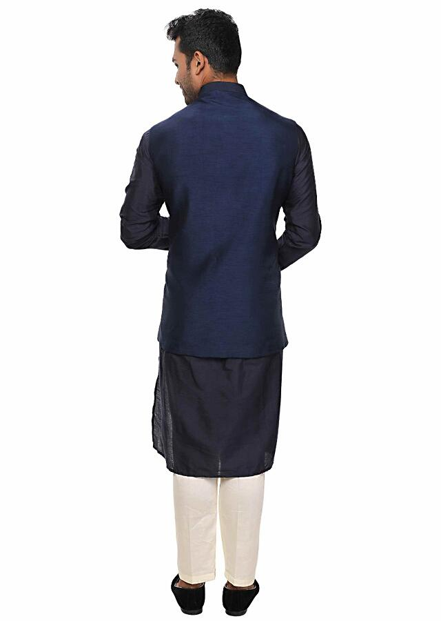 Blue Kurta Set Paired With A Blue Heavy Embroidered Jacket Online - Kalki Fashion