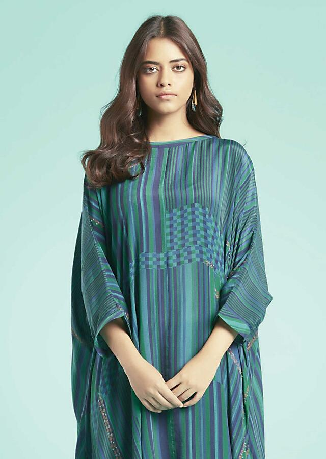 Blue Kurta Set With Multi Colored Striped And Checks Pattern And Navy Blue Low Crotch Pants Online - Kalki Fashion