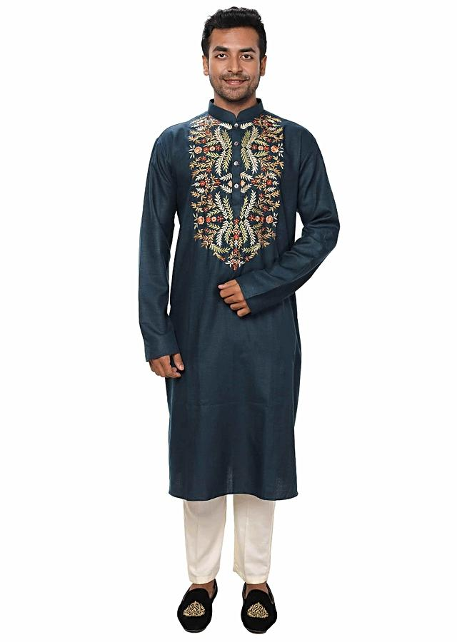 Blue Kurta Set With Multicolor Threadwork Embroidery Online - Kalki Fashion