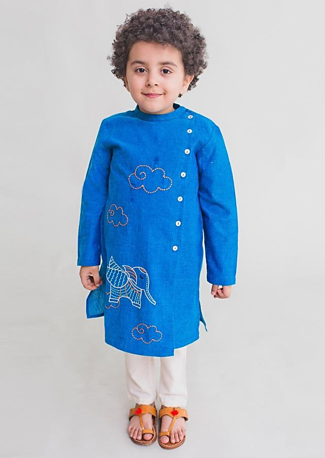 Blue Kurta Set With Thread Embroidered Elephant Inspired From Gond Tribal Folk Art By Tiber Taber