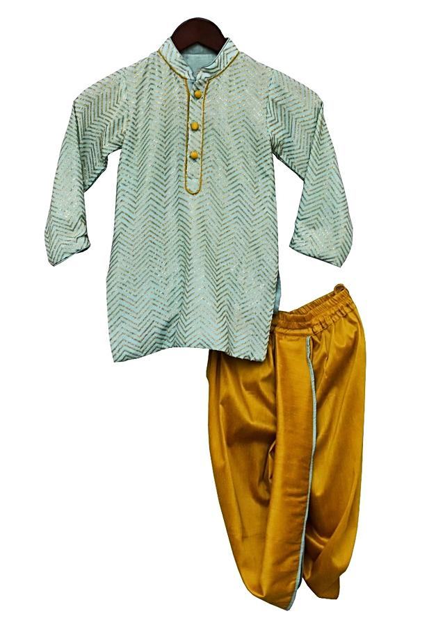 Blue Kurti With Sequins Work In Zig Zag Pattern And Yellow Dhoti Bottoms By Fayon Kids