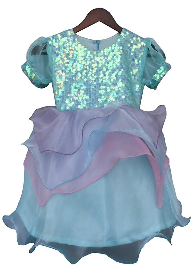 Blue layered dress with sequins embellished bodice By Fayon Kids