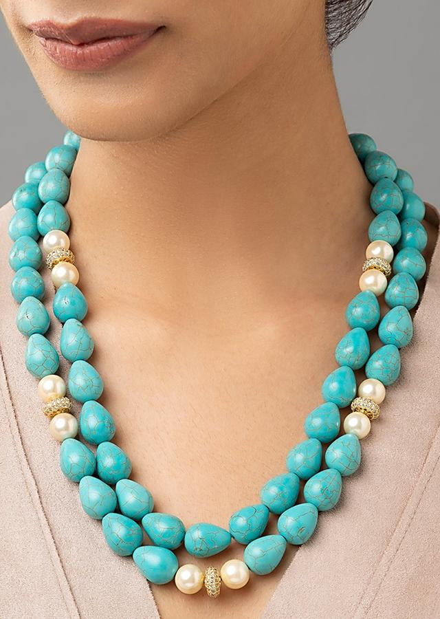 Blue Layered Necklace With Turquoise Shell Drop, Swarovski And Shell Pearls Online - Joules By Radhika