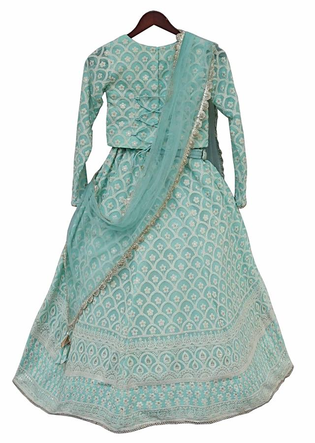 Blue lehenga choli with lucknowi embroidery in floral and scallop motifs By Fayon Kids