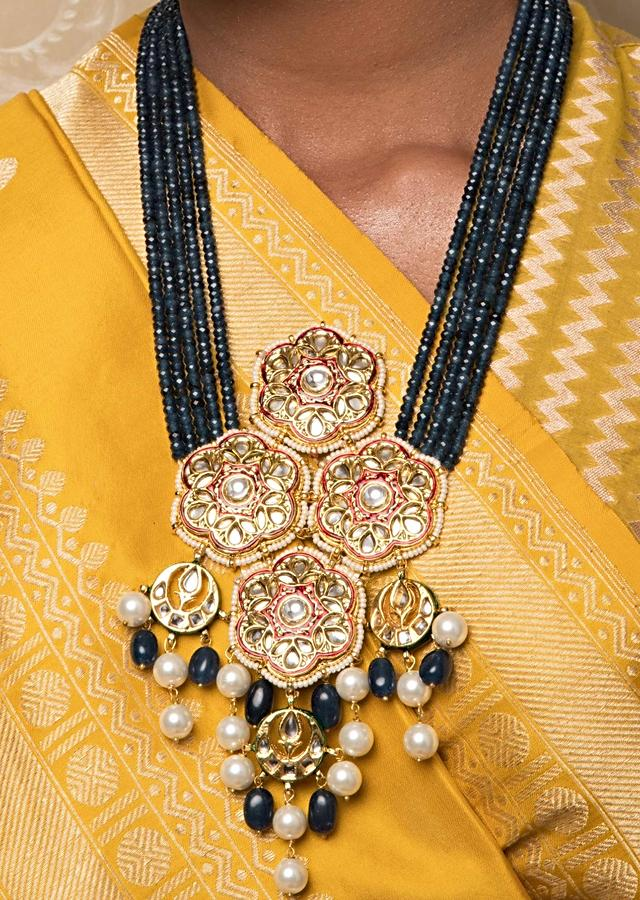 Blue Multi Strand Beads Necklace And Earrings Set With Floral Kundan Pendant And Shell Pearls Online - Joules By Radhika