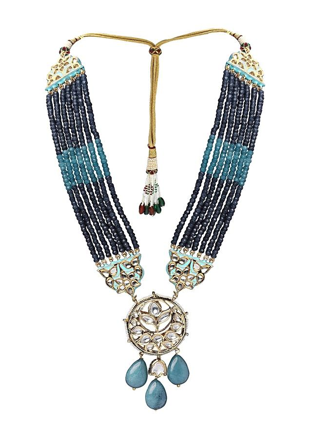 Blue Necklace Set With Agate Bead Strings And Polki Pendant  Online - Joules By Radhika