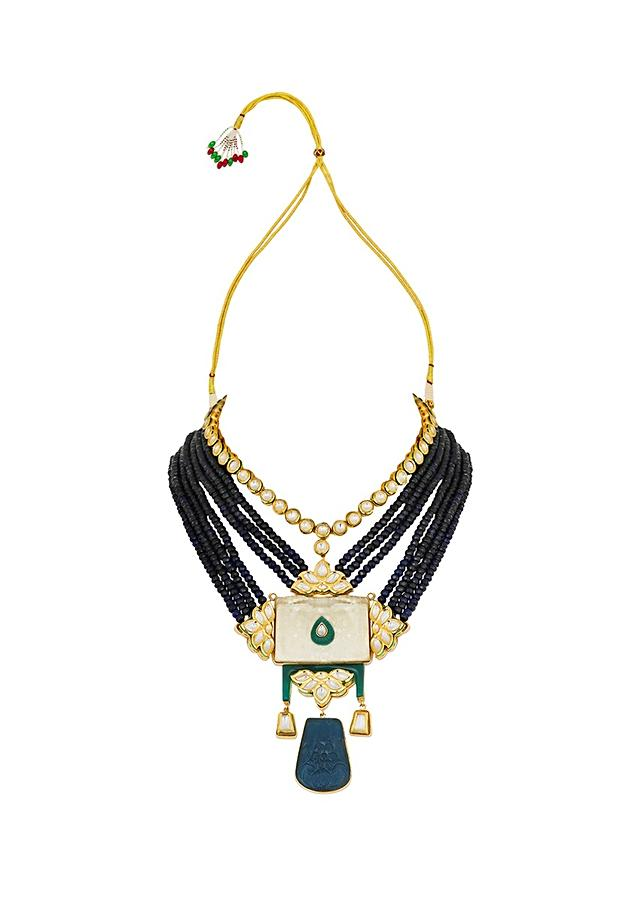 Blue Necklace With Droozi Agates, Hydro Kundan Polki And Carved Blue Onyx Pendant Online - Joules By Radhika