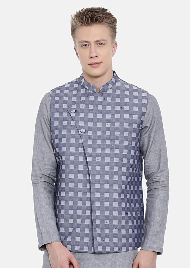 Blue Nehru Jacket In Cotton With Checks Print And Subtle Hand Embroidery By Mayank Modi
