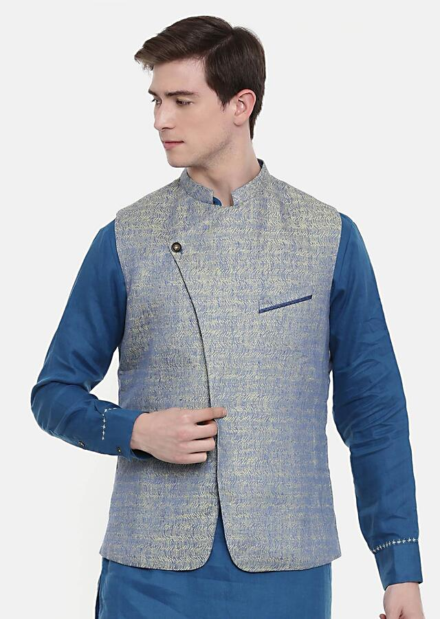 Blue Nehru Jacket In Linen Jacquard With Overlapping Stylish Placket By Mayank Modi