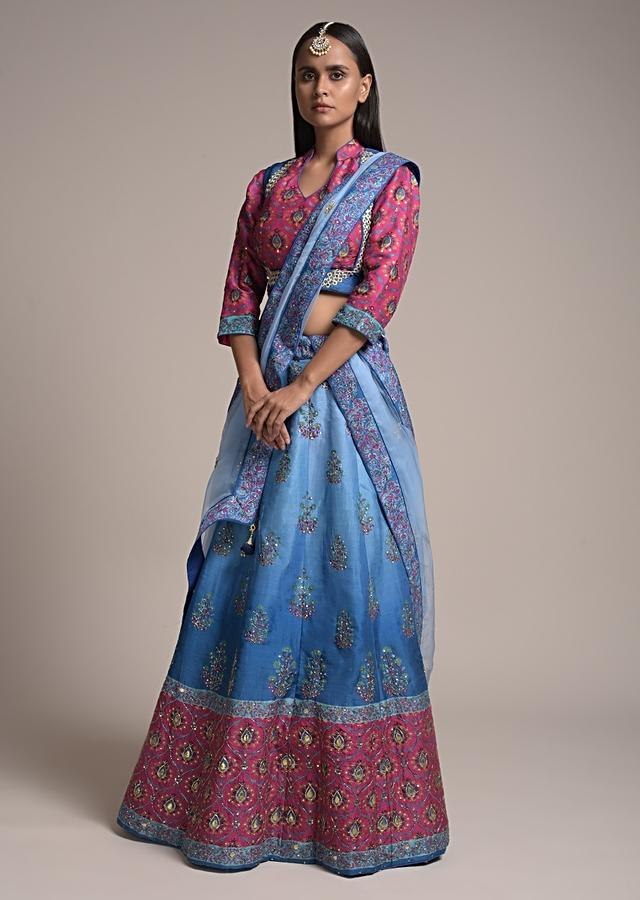 Blue Ombre Printed Lehenga Choli With Floral Motifs And Magenta Moroccan Border Along With Gotta Patti Accents Online - Kalki Fashion