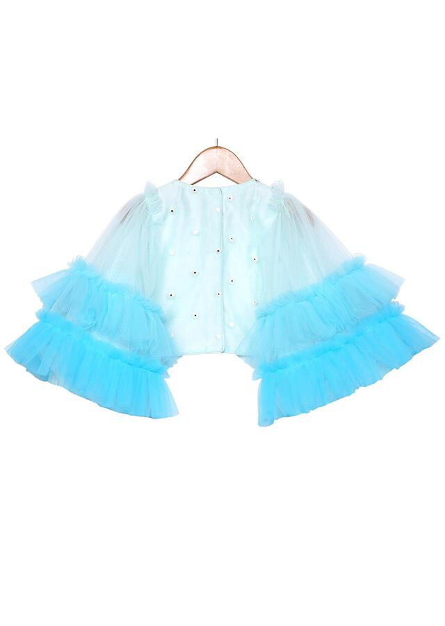 Blue Ombre Tiered Skirt Set With Ruffles And Bell Sleeves Crop Top Online - Free Sparrow