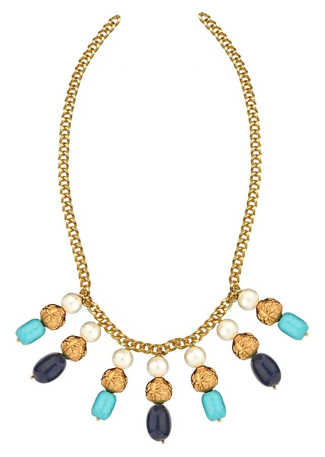 Blue Paradise Necklace And Earrings Set With Turquoise, Quartz Beads And Shell Pearls Online - Joules By Radhika