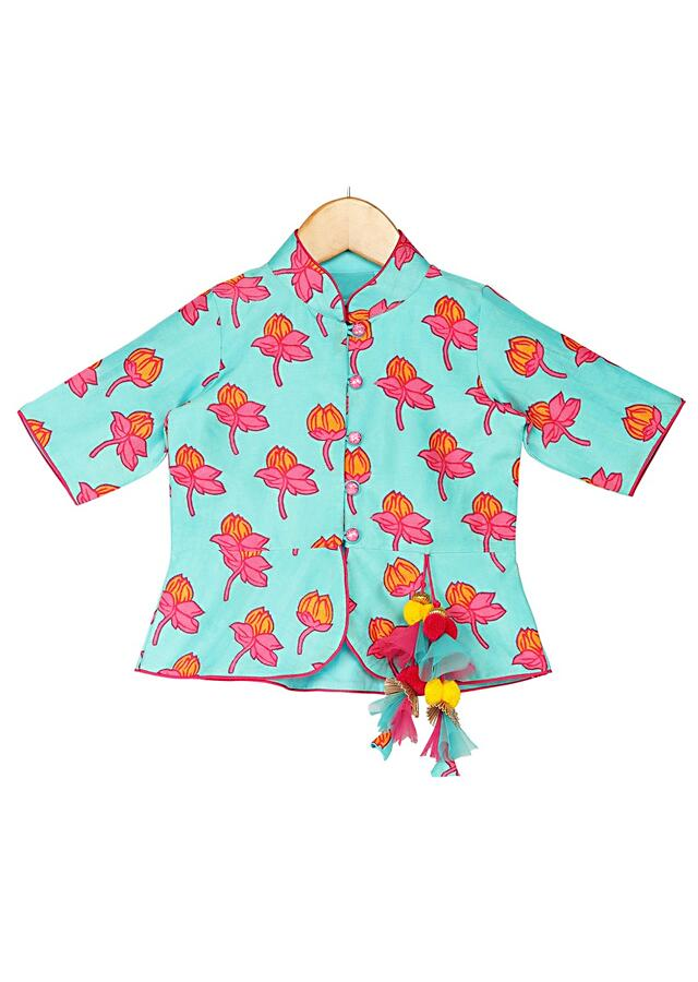 Blue Peplum Top With Tulip Print And Fuchsia Dhoti Online - Free Sparrow