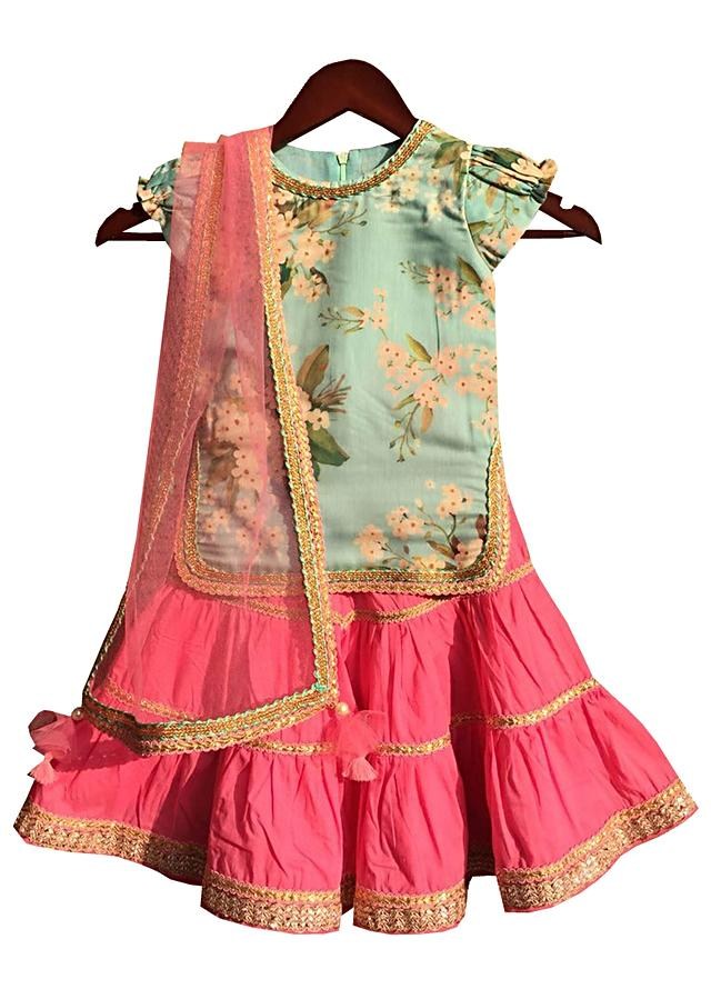 Mint Green Kurti With Print And Pink Sharara by Fayon Kids