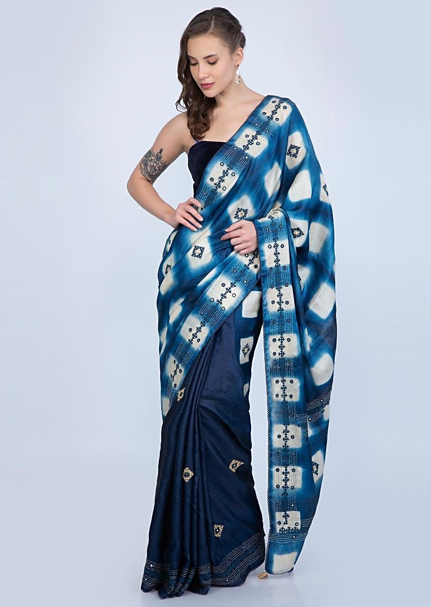 d04a0666ba Blue shaded half and half tussar silk saree with embroidered butti and batik  print only on KalkiMore Detail