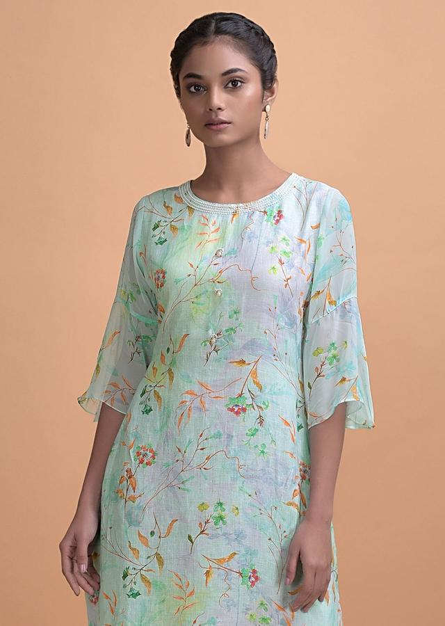 Blue Shaded Tunic With Floral Print Adorned With Pearls Online - Kalki Fashion