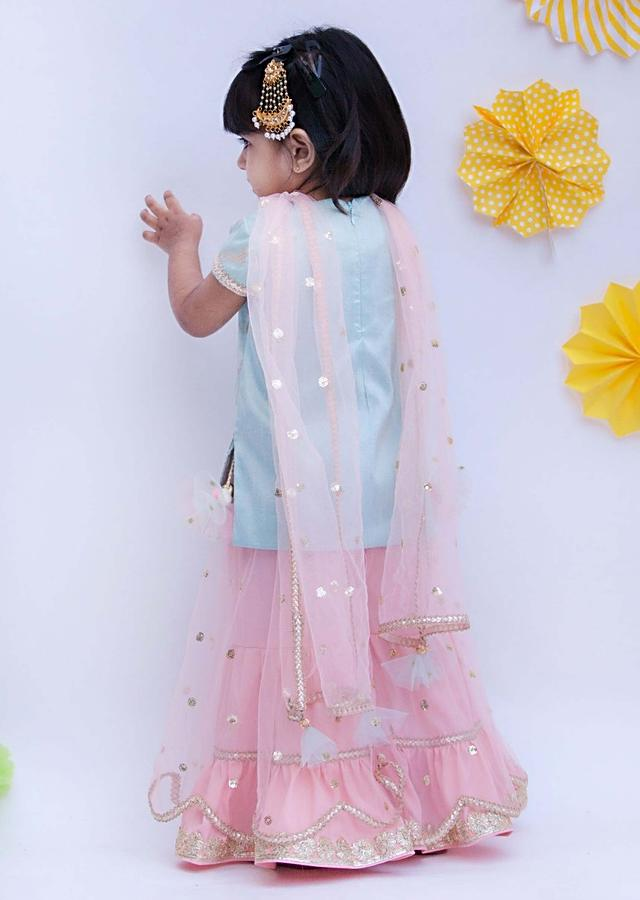 Blue Sharara Suit With Brocade Weaved Floral Pattern By Fayon Kids