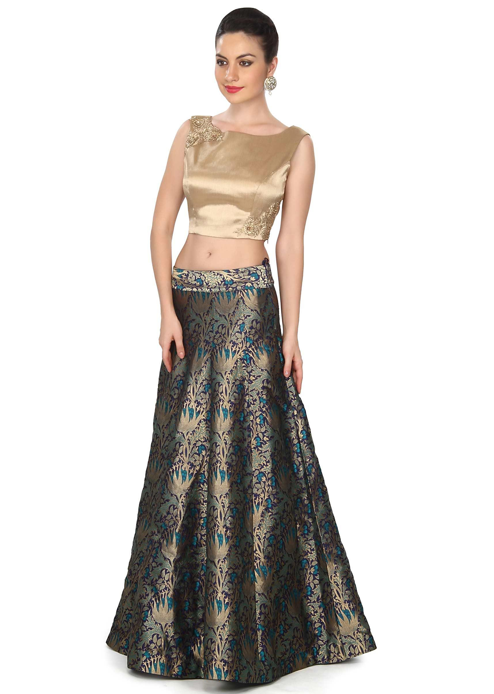 076e691e16f Blue skirt matched with gold crop top only on Kalki