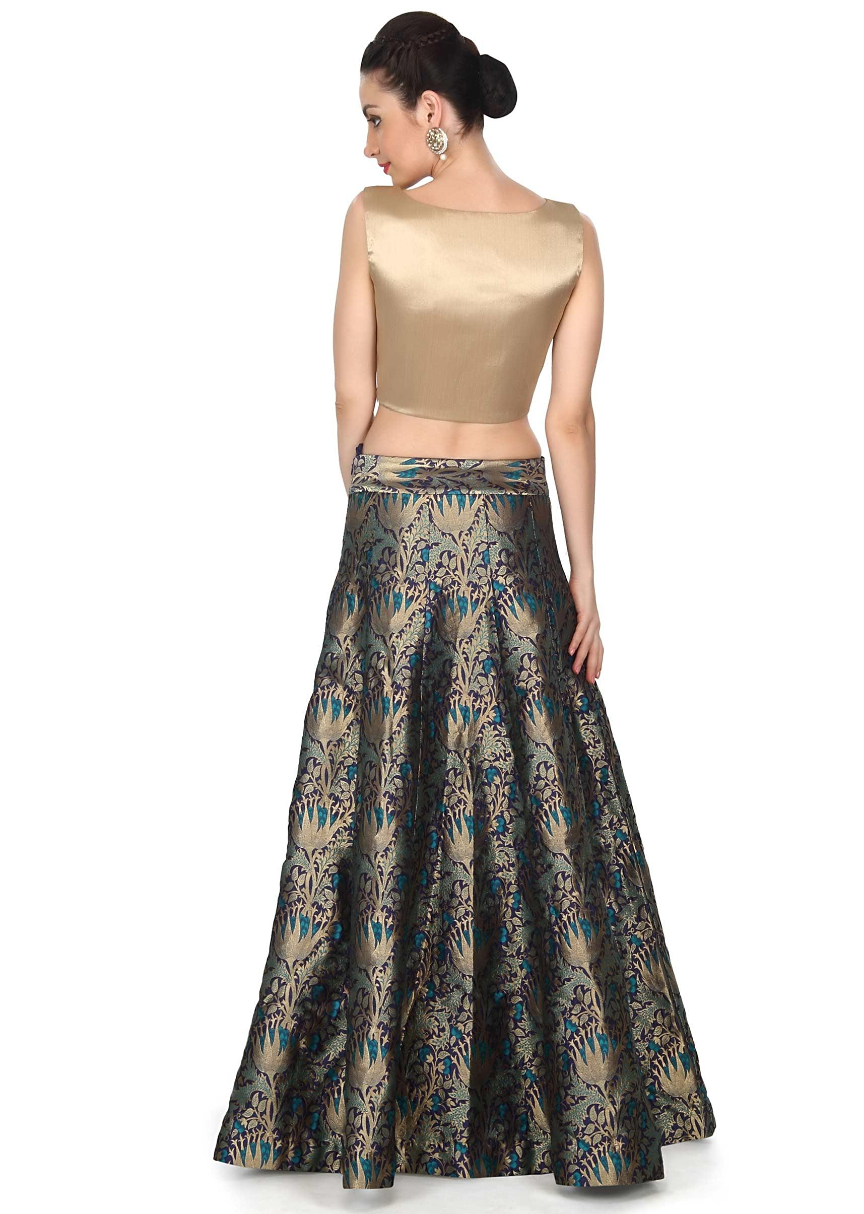 2581fa2e6cfc4 Blue skirt matched with gold crop top only on Kalki