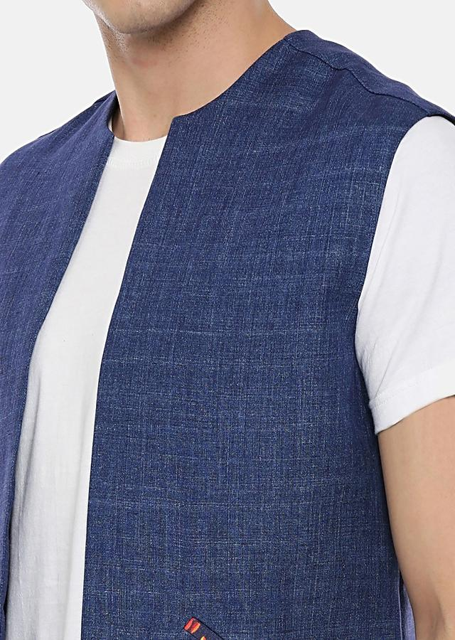 Blue Sleeveless Jacket In Linen With Printed Pocket Details By Mayank Modi