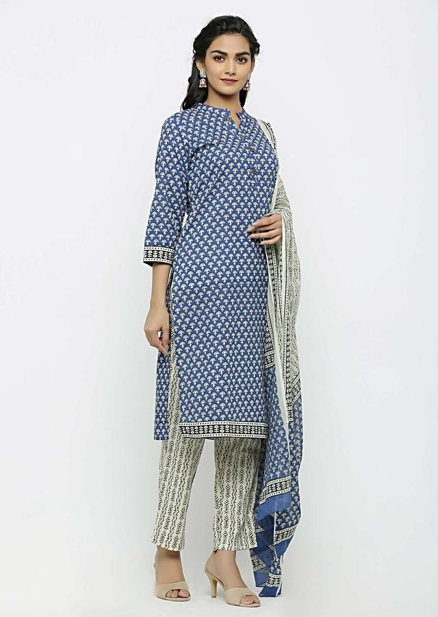 Blue straight suit with batik print and Matched with pants and dupatta Online - Kalki Fashion
