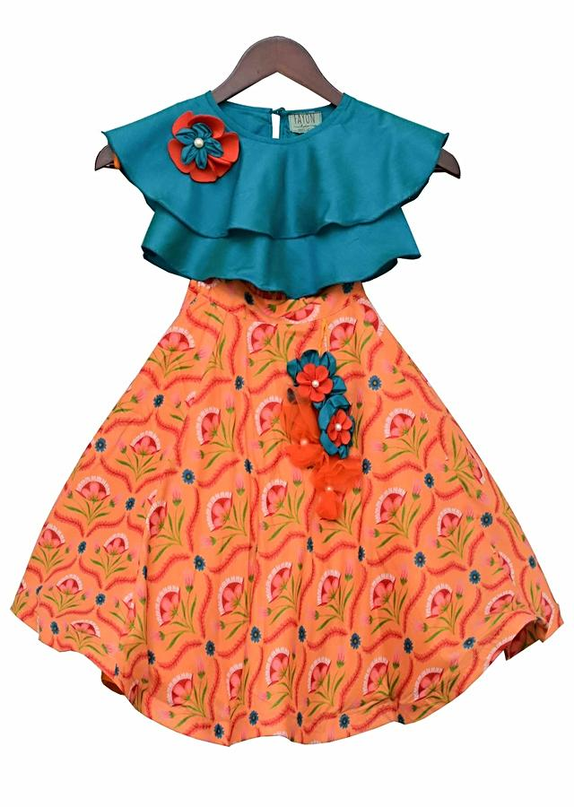 Blue Top with Orange Printed Lehenga by Fayon Kids