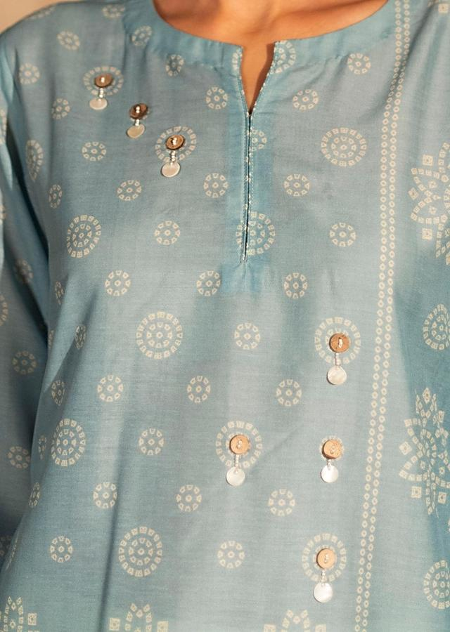 Blue Tunic In Muslin With Bandhani Print And Pearl Detailing Online - Kalki Fashion
