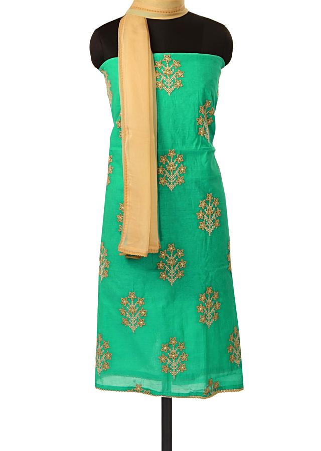 Blue unstitched suit adorn in thread embroidery only on Kalki