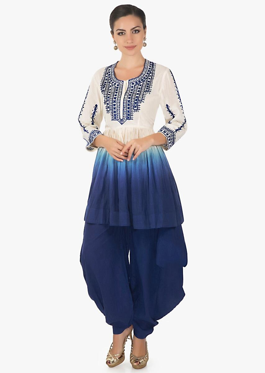d4a5d6d606061 Blue white Flared short cotton kurti with a matching blue dhoti pants only  on kalki.More Detail