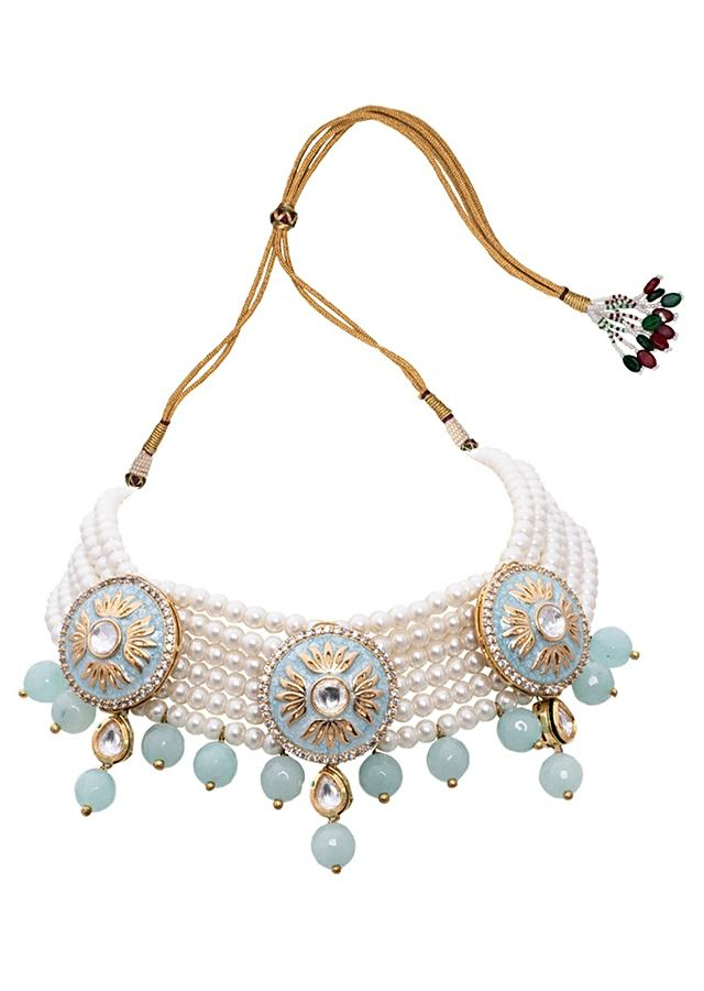 Blue White Pearl Necklace Set With Meenakari, Kundan And Blue Agate Beads Joules By Radhika
