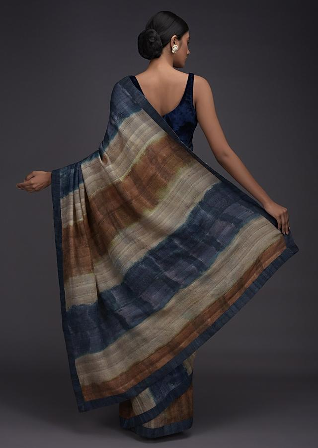 Blue, Brown And Beige Shaded Saree Fabricated In Jute Cotton Online - Kalki Fashion