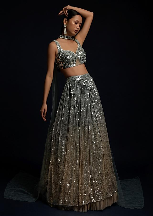 Blue And Beige Shaded Lehenga In Sequins Fabric With Organza Frill And Mirror Embellished Crop Top Online - Kalki Fashion