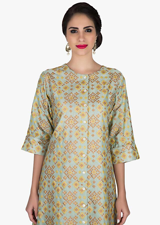 Grey Blue and olive green long kurti in ikkat motif print and shell buttons only on Kalki