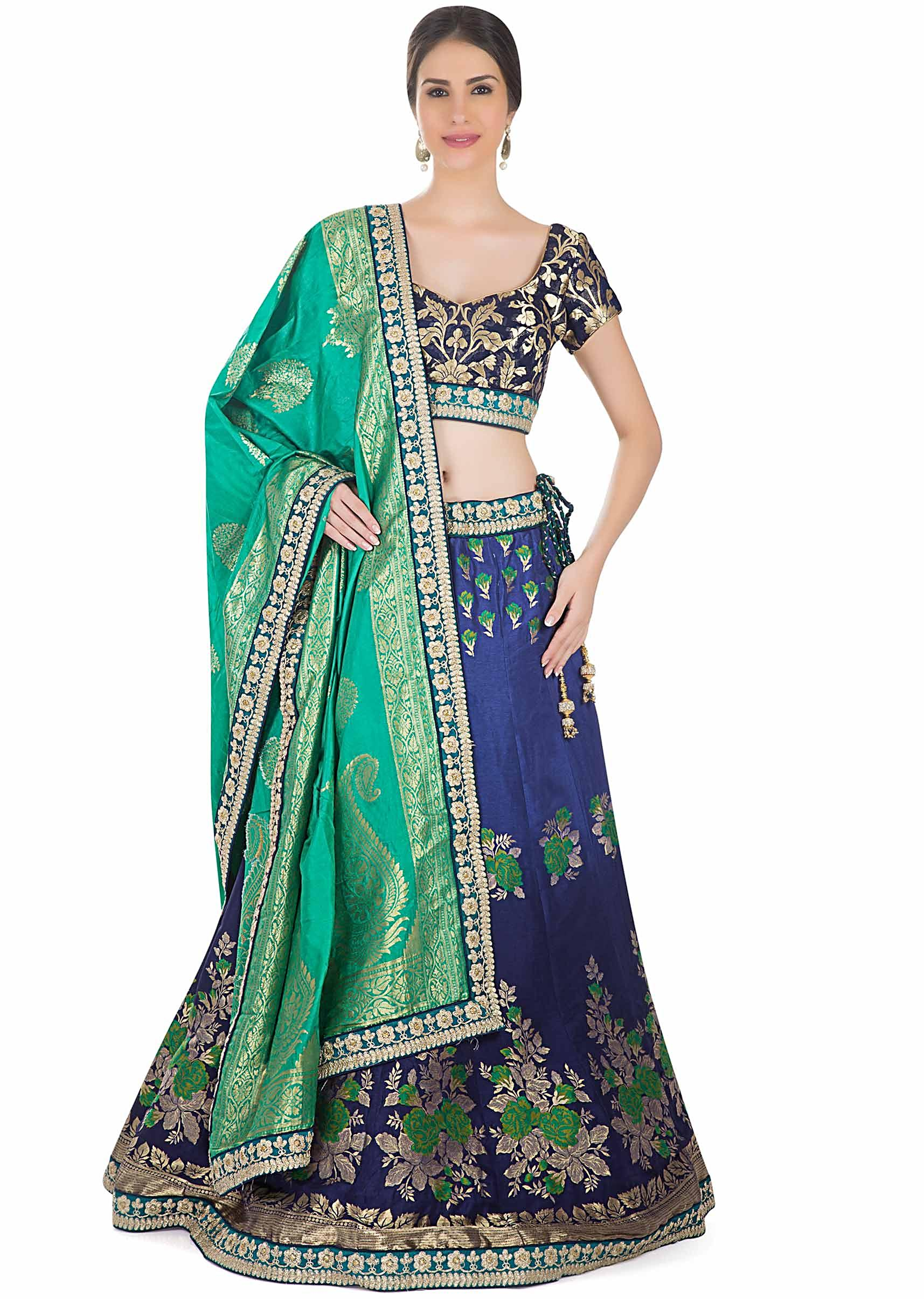 d8b3efddd5a27 Blue Brocade Silk Lehenga Blouse and Green Dupatta Styled with Zari Lace  Border only on KalkiMore Detail