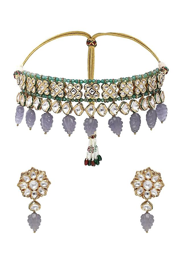 Blue Choker Necklace Set With Polki, Green Agate Beads And Dangling Grey Quartz Online - Joules By Radhika