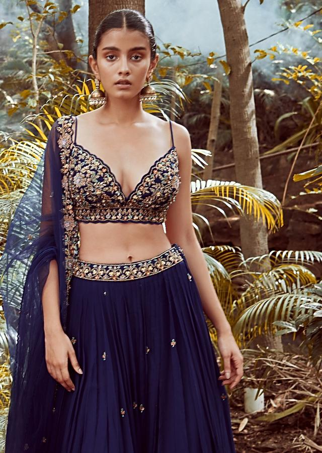 Blue blood Lehenga Choli With Hand Embroidered Crop Top Using Sequins And Beads In Floral Jaal Design Online - Kalki Fashion