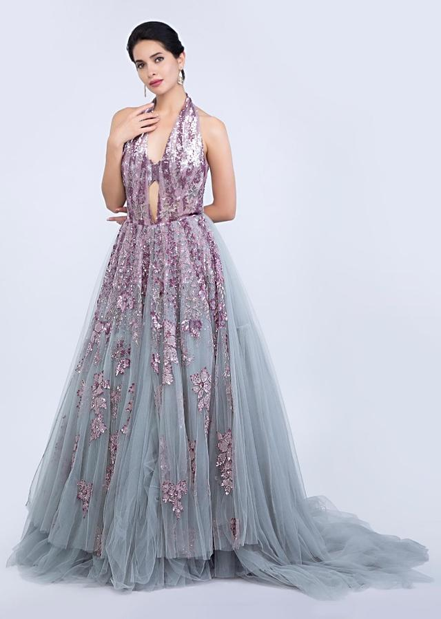 Bluish Grey Gown With Halter Neck Bustier Style And Embroidery Work Online - Kalki Fashion