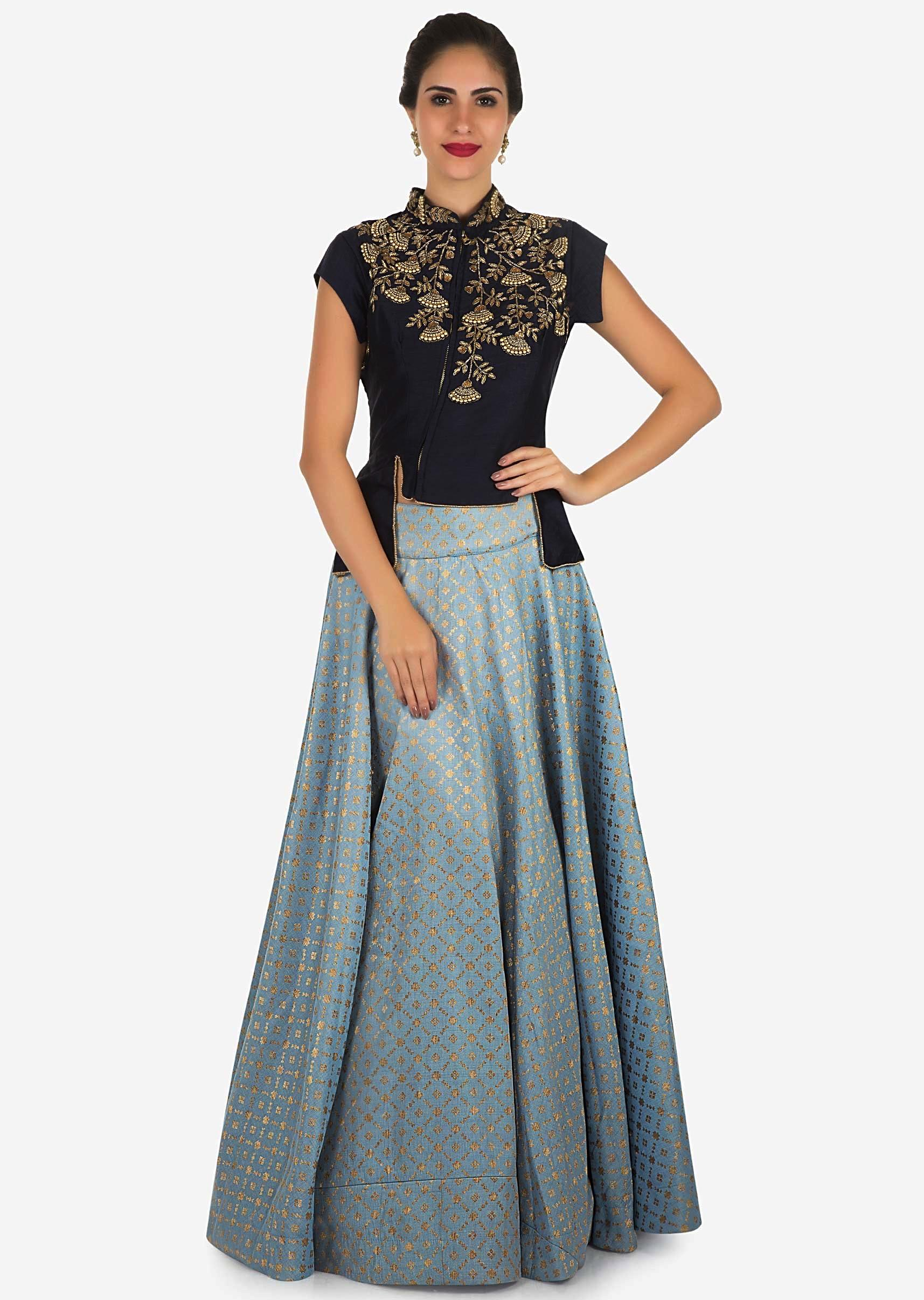 c7a504cc1c9bf Bluish grey skirt with navy blue blouse enhanced in moti and cut dana  embroidery work only on KalkiMore Detail