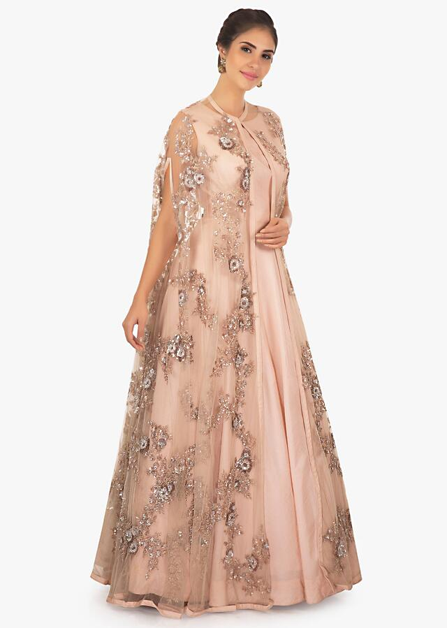 Chanderi Gown In Cotton With Cut Dana And Sequins Online - Kalki Fashion