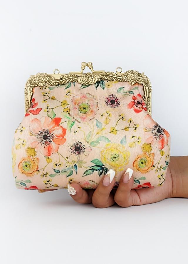 Blush Pink Clutch With Floral Print By Vareli Bafna